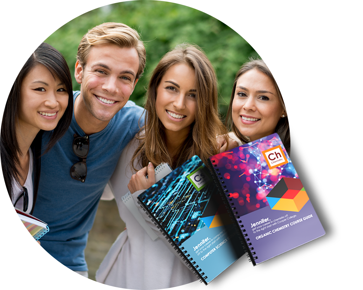 Group of higher education students smiling at the camera with an overly of two ring bound chemistry course guides.
