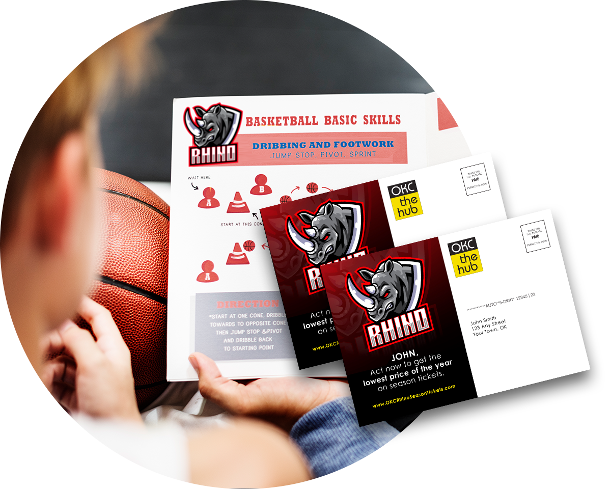 A young boy reading a brochure about basketball basic skills with an overly of two direct mail pieces.