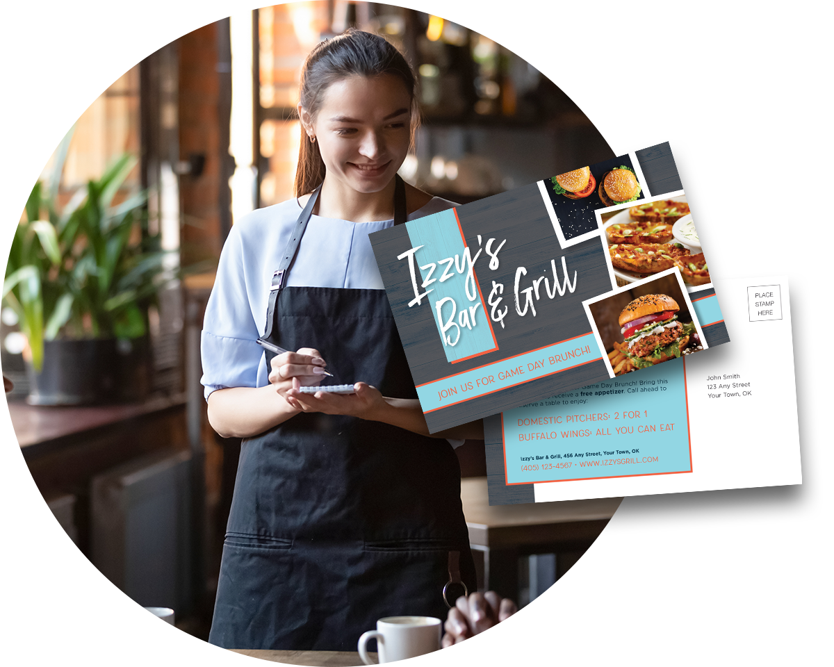 A waiter taking an order with an overlay of two direct mail postcards.