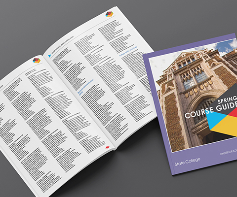 An open course catalog sits on the left with unreadable text. A closed version sits on the right. The cover is purple with the image of a university and says spring course guide.