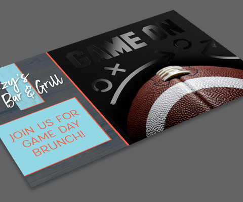 """An Izzy's Bar & Grill postcard with """"Join us for game day brunch"""" on the left and an image of a football with clear ink that reads """"Game on"""" with circles and x on the right."""
