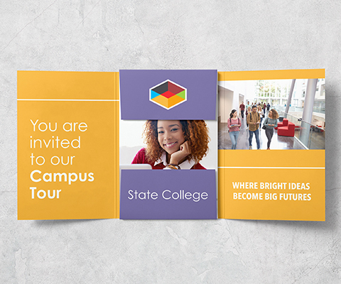 """Yellow and purple unfolded invitation with a black girl with curly hair in the center and a group of college students on the right side. The invite reads """"Leah James You are invited to our Campus Tour. State College. Where bright ideas become big futures."""""""