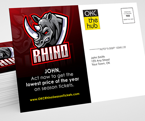 "A large OKC The Hub postcard highlighting the Rhino sports team. The text reads ""John, act now to get the lowest price of the year on season tickets."""