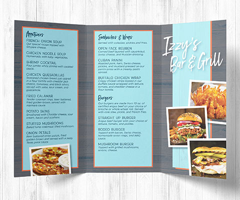 A tri-fold Izzy's Bar & Grill Take out menu. The gray and light blue menu features images of food and a list of available take-out items.