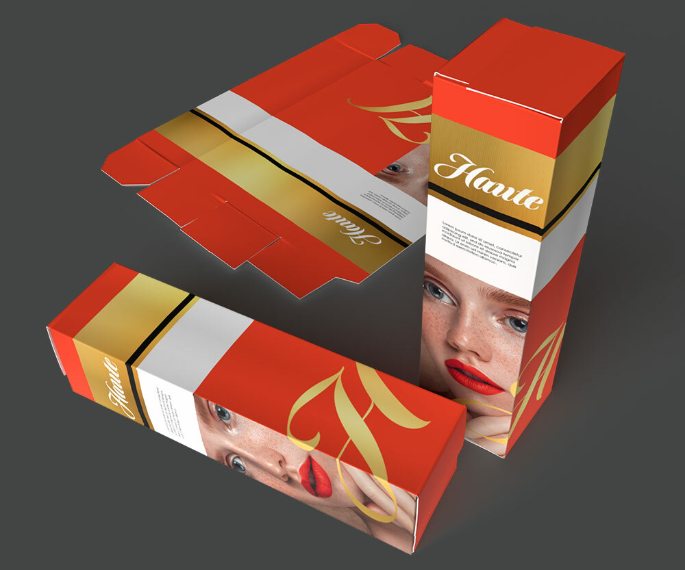 A lipstick package with a woman with red lips. The package is red with gold embellishments.
