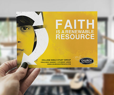 "A yellow Church Outreach postcard with a person staring out at you with arrows around their face. The text reads ""Faith is a renewable resource."""