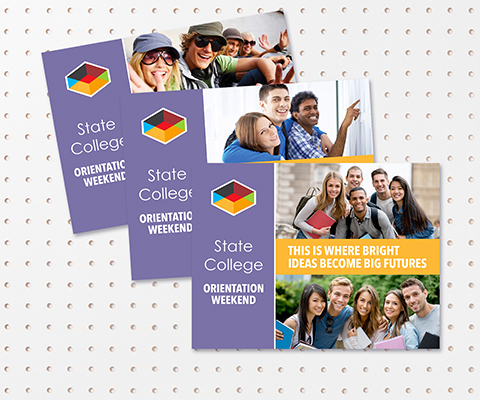 Three state college orientation weekend postcards fanned out. Images of smiling college students are on each postcard.