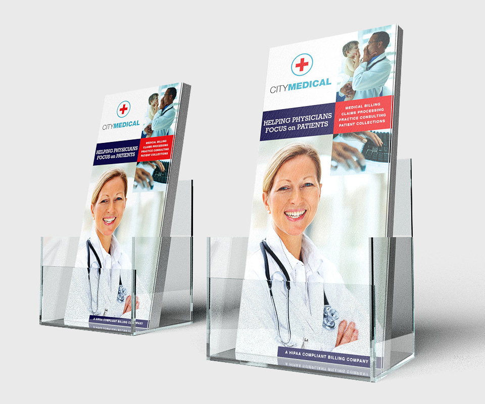 Two rack card containers holding City Medical rack cards with a smiling white woman doctor folding her arms and indistinguishable text above her.