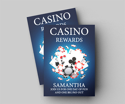 """Two Casino Rewards flyers on a gray background. They read """"Casino Rewards. Samantha, join us for one day of fun and one big pay-out."""""""