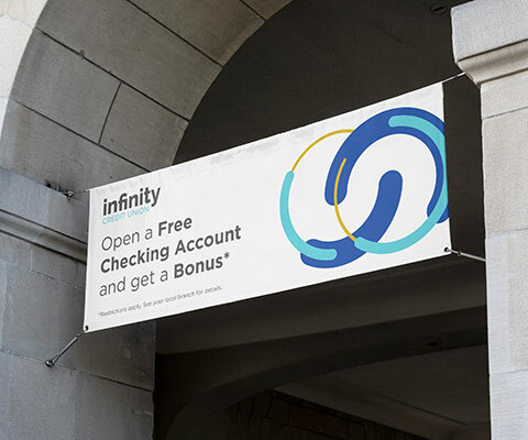 "large banner hanging from a building archway. The banner is white with the infinity credit union logo and says ""open a free checking account and get a bonus."""